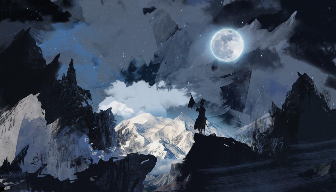рыцарь в горах под луной