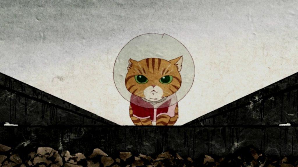 злой японский котик в курточке