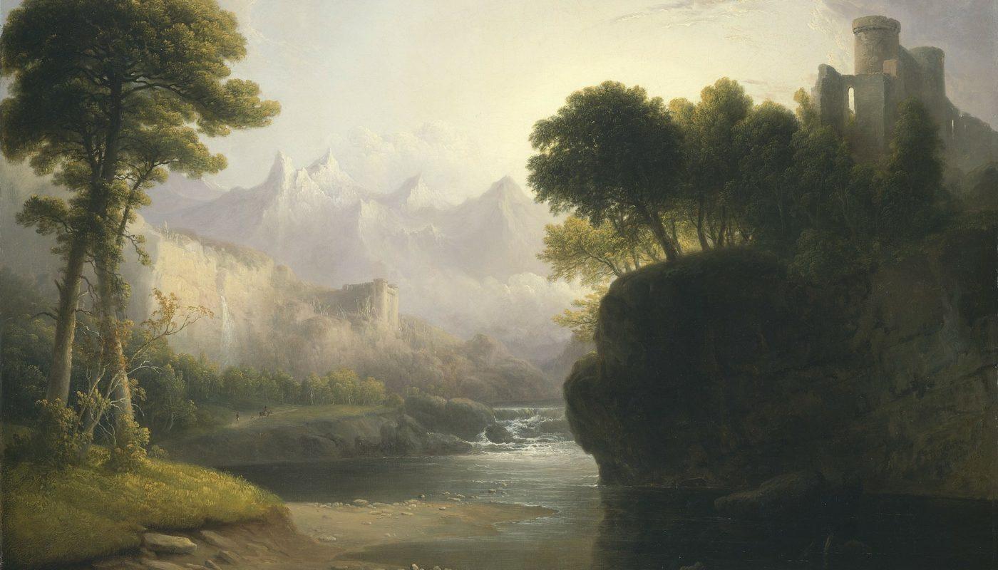 замок на берегу реки картина