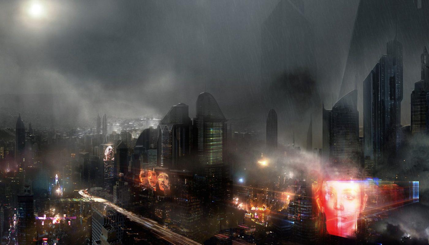 городской пейзаж в стиле киберпанка