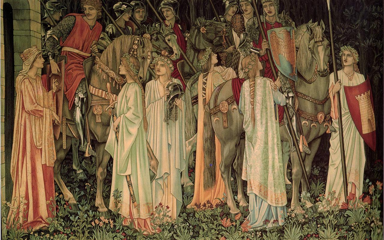 дамы провожают рыцарей в поход - гобелен