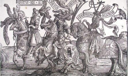 Король Артур и его рыцари в турнирных доспехах