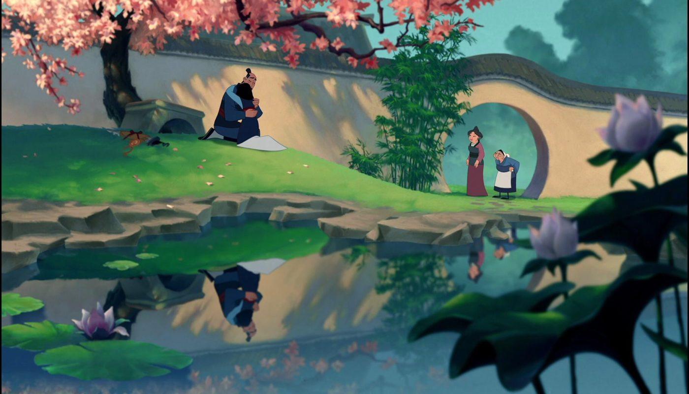 кадр с садом из мультфильма Мулан