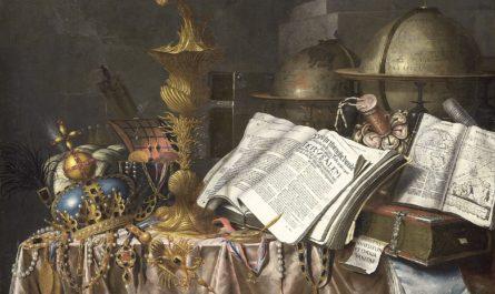 Натюрморт с книгами и золотым барахлом